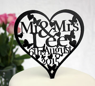 Personalised Wedding Cake Topper Decoration  With Name & Date