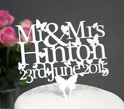 Wedding Cake Topper Decoration Personalised with Mr & Mrs any Surname & Date