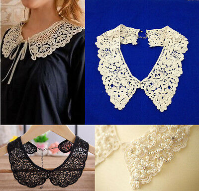 Women Vintage Boho Lace Pearl Rhinestones Hollow Out Detachable Collar Necklace