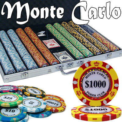 NEW 1000 PC Monte Carlo 14 Gram Clay Poker Chips Aluminum Case Set Pick Chips