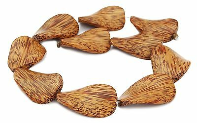 Coconut palm wood Bead large turned flat Oval Wooden beads Natural beads Cord