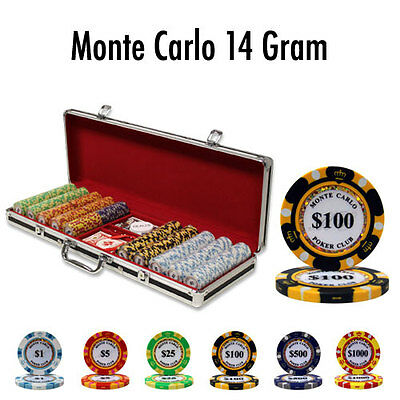 NEW 500 Pc Monte Carlo 14 Gram Clay Poker Chips Set Black Aluminum Case Custom