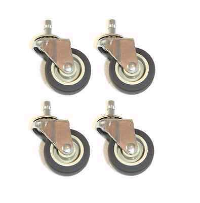 """Set of Four Swivel Stem Casters 2"""" TPR Wheels with 3/8"""" x 1"""" Tall Grip Ring Stem"""