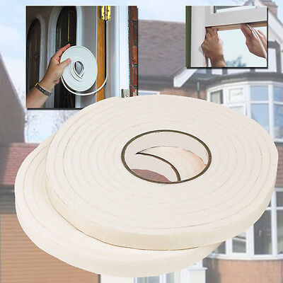 2 x 4.5M FOAM DRAUGHT EXCLUDER TAPE WEATHER SEAL INSULATING STRIPS DOORS WINDOWS