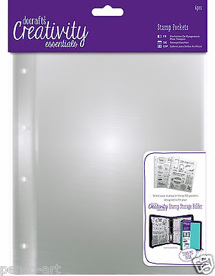 Papermania 6pk A5 stamp storage pockets Wallet for storing clear & rubber stamps