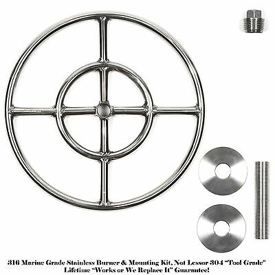 FR12K: 12″ Round Double Ring Marine 316 Stainless Fire Ring w/ Mounting Kit