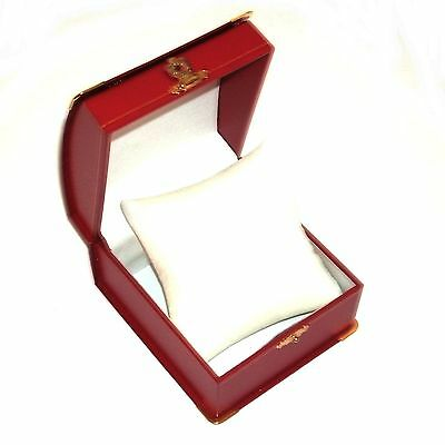 1 Red Domed Leatherette Brass Accents Watch Bracelet Jewelry Gift Box w/ Pillow