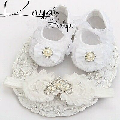 Baby *Princess Crown* Pre Walkers Shoes/Headband Set Wedding*Christening* White
