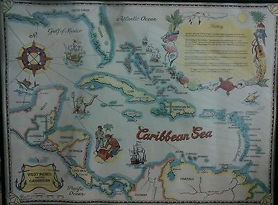 "Vintage 1994 West Indies & Caribbean Islands 24"" x 18.5"" Colorful Map"