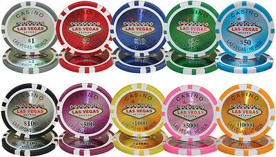 NEW 500 PC Las Vegas 14 Gram Clay Poker Chips with Denominations Bulk Lot