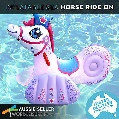 Inflatable Princess Sea Horse Animal Kids Float Ride On Pool Water Toy Airtime