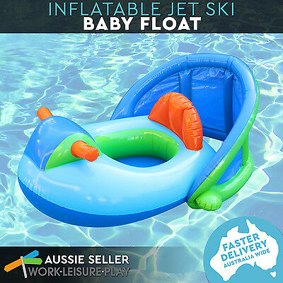 Airtime Jet Ski Baby Kids Float Swim Ring Pool Water with Shade 80x78x57cm Blue