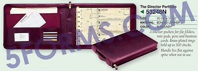 NEW - 3 On A Page REAL LEATHER Zippered Portfolio Burgundy 7 Ring Check Binder