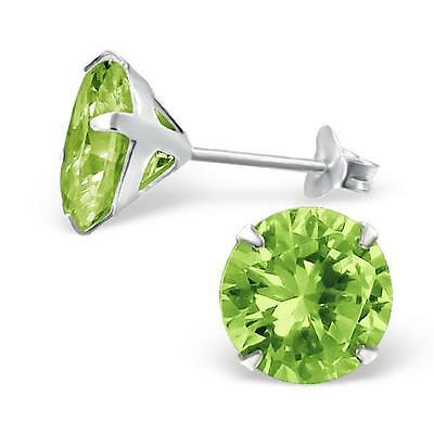 Sterling Silver Round Peridot Ear Studs - 10 mm - Gift Boxed