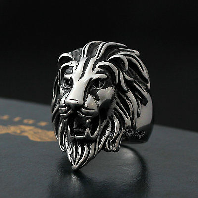 Men Vintage Silver Lion Head Stainless Steel Ring Size 8 9 10 11 12 13 14 15 16