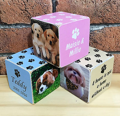 Handmade Wooden Personalised Pet Dog Cat Puppy Photo Frame Cube Gift Present