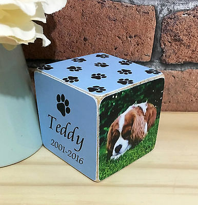 Handmade Wooden Personalised Pet Dog Cat Photo Frame Cube Memorial Keepsake Gift