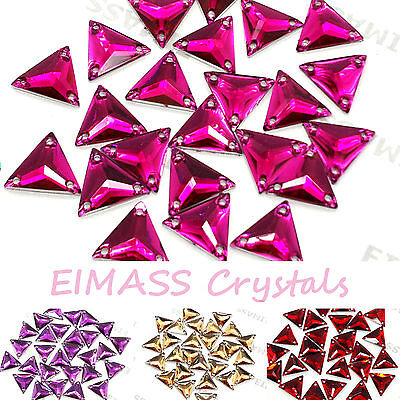 EIMASS® Sew or Glue on Resin Crystals, Flat Back Triangle Shape Gems for Costume