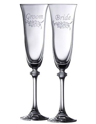 Galway Irish Crystal Bride & Groom Liberty Champagne Flutes Glasses NEW Boxed