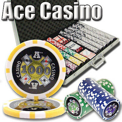 NEW 1000 PC Ace Casino 14 Gram Clay Poker Chips Set Aluminum Case Pick Chips