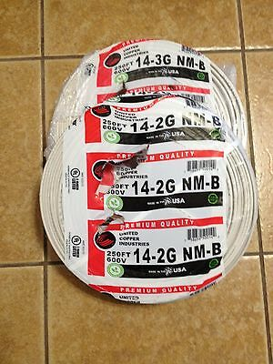 Two 250 FT Roll 14/2 With Ground ROMEX Copper Electrical Wire 600Volt 14-2 500ft