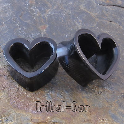 piercing plug heart horn tunnel (1pc) organic Tribal Ear gauges ethnic plugs