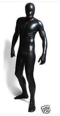 Male Zipper Lycra Spandex Halloween Party Zentai Costume Metallic Black S-XXL