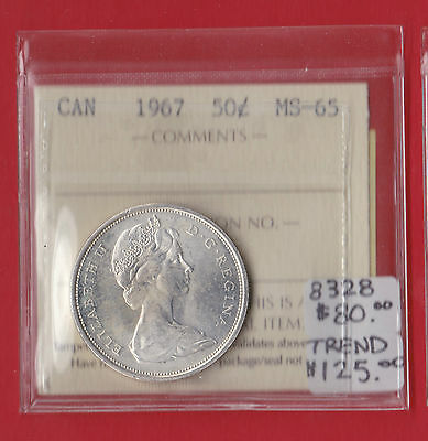 1967 Canada 50 Cent Silver Coin Fifty Half Dollar ICCS MS 65 8328  $125 SALE!