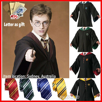 Harry Potter Gryffindor/Slytherin/Hufflepuff/Ravenclaw Cosplay Robe Cloak Tie