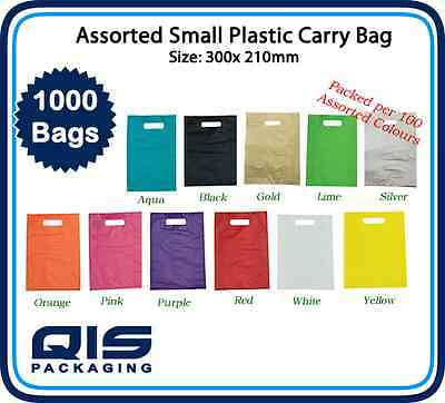 1000 Small Plastic Carry Bags 300 x 210mm Assorted Colours to choose Retail