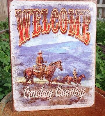 WELCOME COWBOY COUNTRY WESTERN Tin Metal Sign Vintage Wall Garage Classic Bar