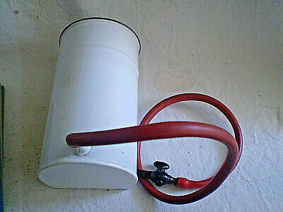Vintage enema email with a rubber hose bakelite  nozzle