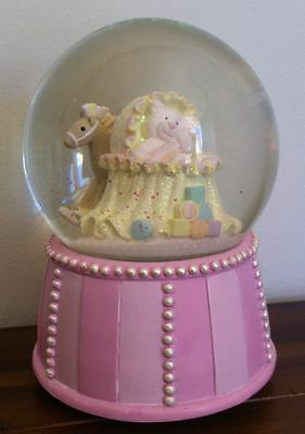 RUSS Pink Bear in Crib/Cot Nursery Baby Girl Musical Waterglobe SMALL FAULT