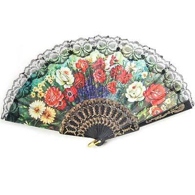 Spanish Lace Silk Folding Hand Fan Flower Party Dance Wedding Prom Handheld