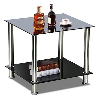 2 Tier Modern Black Small Square Glass Sofa Side End Coffee Table Chrome Steel