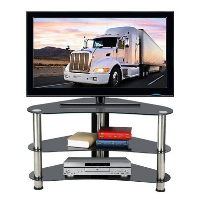 3 Tier Black Glass Steel Corner TV Stand Cabinet Unit for 60 Inch Flat Screen TV