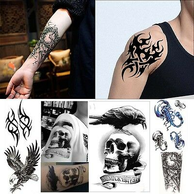 Large Tattoo Skull Temporary Body Arm Fashion Sticker Removable Waterproof