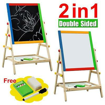 Kids Childrens Wooden 2 In 1 Blackboard & Whiteboard Easel Chalk Drawing Board