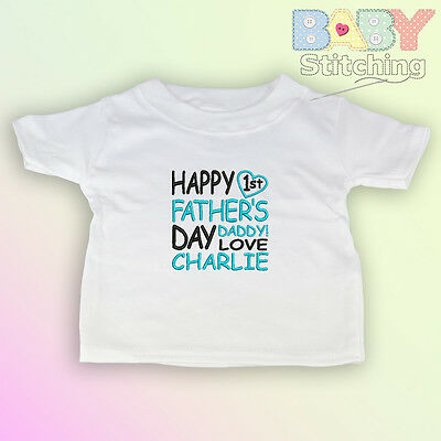 Happy 1st Fathers Day Personalised Embroidered Baby T-Shirt Daddy Girl Boy Gift