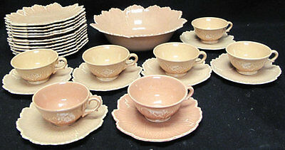 27 Piece Set Steubenville by Russel Wright Woodfield - Coral Salmon Pink