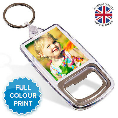 Personalised Photo Gift Acrylic Bottle Opener Keyring 45 x 35 mm | Passport Size