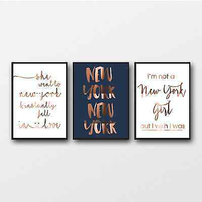 New York Copper Print Trio / Travel wall art / Real copper poster NYC quotes