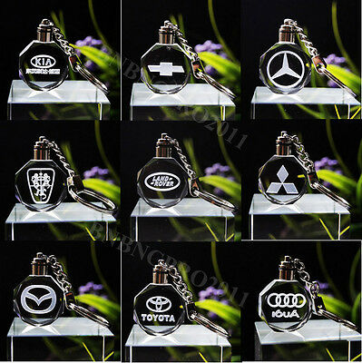 Car Logos LED night Light color changing crystal Key Chain Keychain Ring Keyfob