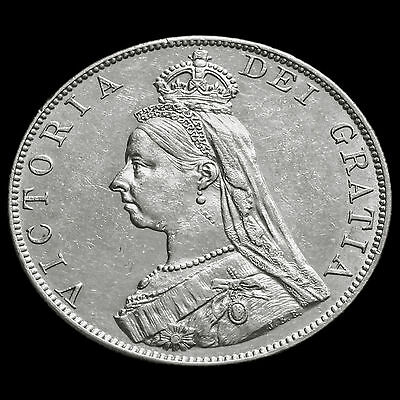 1887 Queen Victoria Jubilee Head Silver Double Florin – Arabic One – G/EF