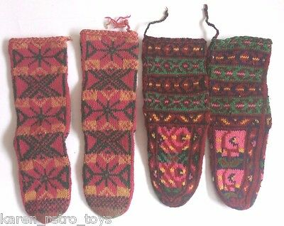 Lot Of 4 Handmade Wool Socks Uzbek Uzbekistan Culture