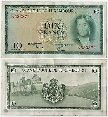 Luxembourg, 10 Francs, 1954