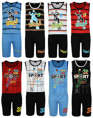 Boys Vest Top Shorts Set 2Pc Outfit Urban Sport 3-12 Years Bnwt
