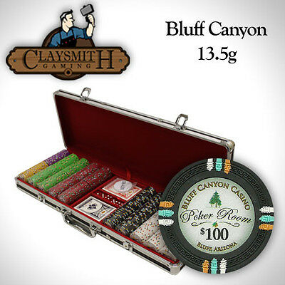 NEW 500 Bluff Canyon 13.5 Gram Clay Poker Chips Set Black Aluminum Case Custom