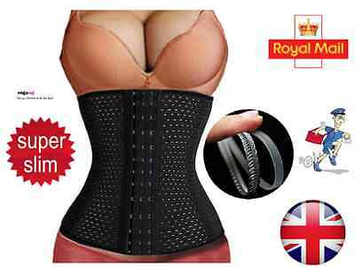 UK Waist Trainer Body Shaper Tummy Control Girdle Slim Belt Black Sport Corset