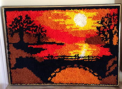 Vtg Complete Malina Latch Hook Rug Wall Hanging Framed Sunset & Bridge 28.5x20.5